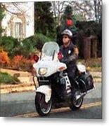 Police - Motorcycle Cop On Patrol Metal Print