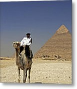 Police Officer On A Camel In Front Of Pyramid In Cairo Egypt Metal Print