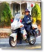 Police - Suburban Motorcycle Cop Metal Print