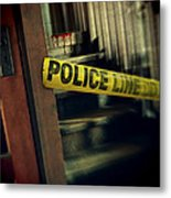Police Tape Blocking Bloody Stairs Metal Print