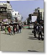 Police Vehicle And Barricades In Front Of Golden Temple In Amritsar Metal Print
