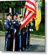 Policeman - Police Color Guard Metal Print by Susan Savad