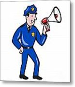 Policeman Shouting Bullhorn Isolated Cartoon Metal Print