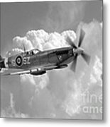 Polish Spitfire Ace Bw Metal Print