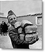 Polish Youngster With Bread Made Metal Print
