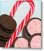 Polka Dot Candy Cane Cookies Metal Print