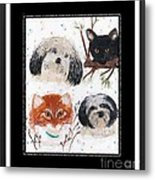 Polka Dot Family Pets With Borders - Whimsical Art Metal Print