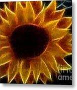 Polka Dot Glowing Sunflower Metal Print