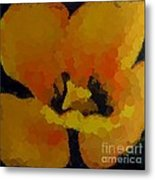 Polka Dot Yellow Blooming Tulip Metal Print