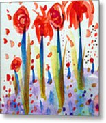 Pollinating Poppies Metal Print