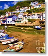 Polperro At Low Tide Metal Print