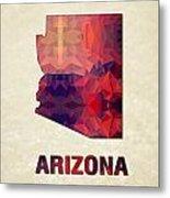 Polygon Mosaic Parchment Map Arizona Metal Print