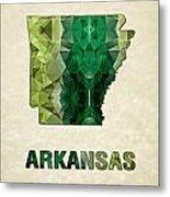 Polygon Mosaic Parchment Map Arkansas Metal Print