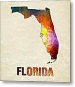 Polygon Mosaic Parchment Map Florida Metal Print