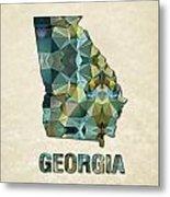 Polygon Mosaic Parchment Map Georgia Metal Print