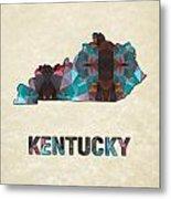 Polygon Mosaic Parchment Map Kentucky Metal Print