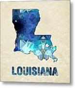 Polygon Mosaic Parchment Map Louisiana Metal Print