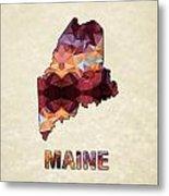 Polygon Mosaic Parchment Map Maine Metal Print