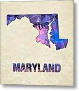 Polygon Mosaic Parchment Map Maryland Metal Print