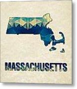 Polygon Mosaic Parchment Map Massachusetts Metal Print
