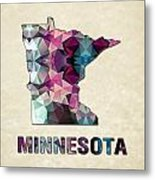 Polygon Mosaic Parchment Map Minnesota Metal Print