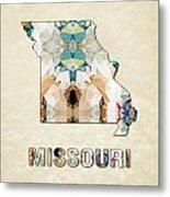 Polygon Mosaic Parchment Map Missouri Metal Print