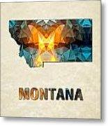 Polygon Mosaic Parchment Map Montana Metal Print