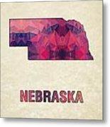 Polygon Mosaic Parchment Map Nebraska Metal Print