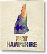 Polygon Mosaic Parchment Map New Hampshire Metal Print