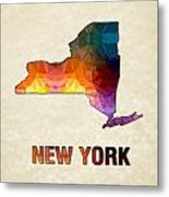 Polygon Mosaic Parchment Map New York Metal Print