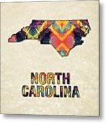 Polygon Mosaic Parchment Map North Carolina Metal Print
