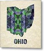 Polygon Mosaic Parchment Map Ohio Metal Print