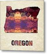 Polygon Mosaic Parchment Map Oregon Metal Print