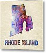 Polygon Mosaic Parchment Map Rhode Island Metal Print