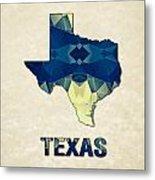 Polygon Mosaic Parchment Map Texas Metal Print