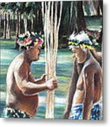 Polynesian Men With Spears Metal Print
