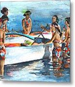 Polynesian Vahines Around Canoe Metal Print