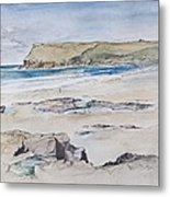 Polzeath And Pentire Head Metal Print