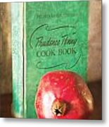 Pomegranate And Vintage Cook Book Still Life Metal Print