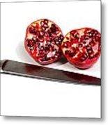 Pomegranates And Knife Metal Print