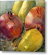 Pomegranates And Pears Metal Print