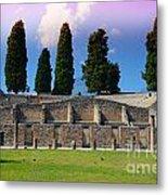 Pompeii Walls And Trees Metal Print