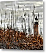 Ponce Inlet Lighthouse In Sea Grass Metal Print