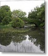 Pond And Bridge Metal Print