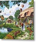 Pond Cottage Metal Print