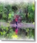 Pond Fishing Photo Art Metal Print
