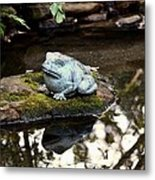 Pond Frog Statuette Metal Print