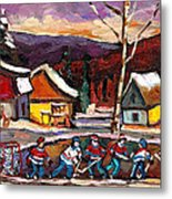 Pond Hockey Birch Tree And Mountain Metal Print
