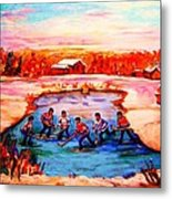 Pond Hockey Game By Montreal Hockey Artist Carole Spandau Metal Print
