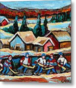 Pond Hockey Game In The Country Metal Print
